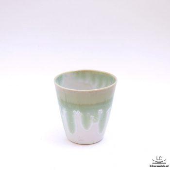 porseleinen espressokopjes kristalgroen wit