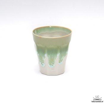 Porseleinen espressokopjes frans glaasje kristalgroen wit
