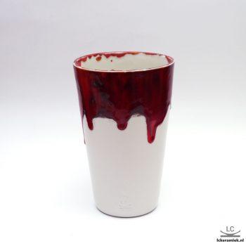Porseleinen Vaas rood Wit