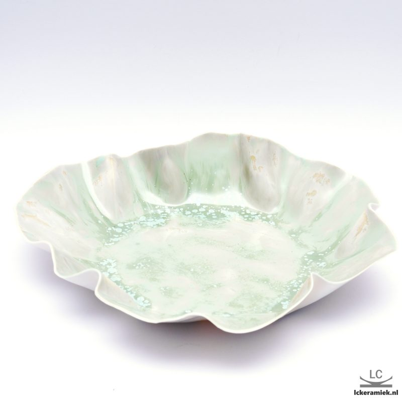 Porseleinen platte Schaal groen