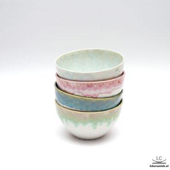 Porseleinen kom honingreliëf verschillende kleuren