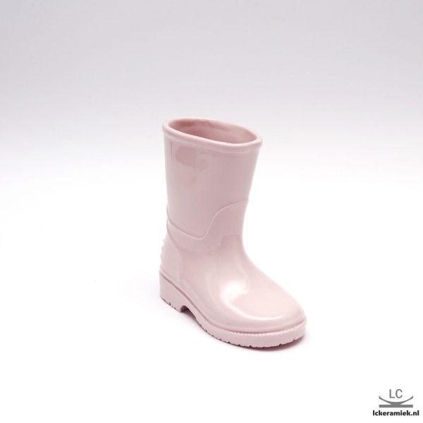 Porseleinen vaasje roze laarzen