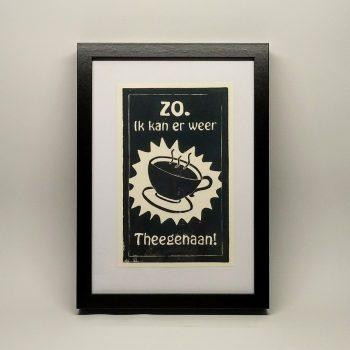 Linoprint 'theegenaan'