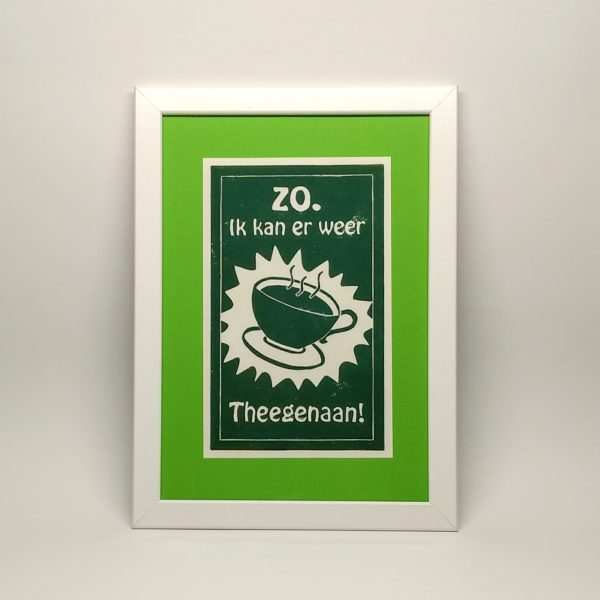 Linoprint theegenaan