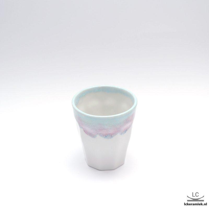 Porseleinen espressokopjes frans glaasje paars wit