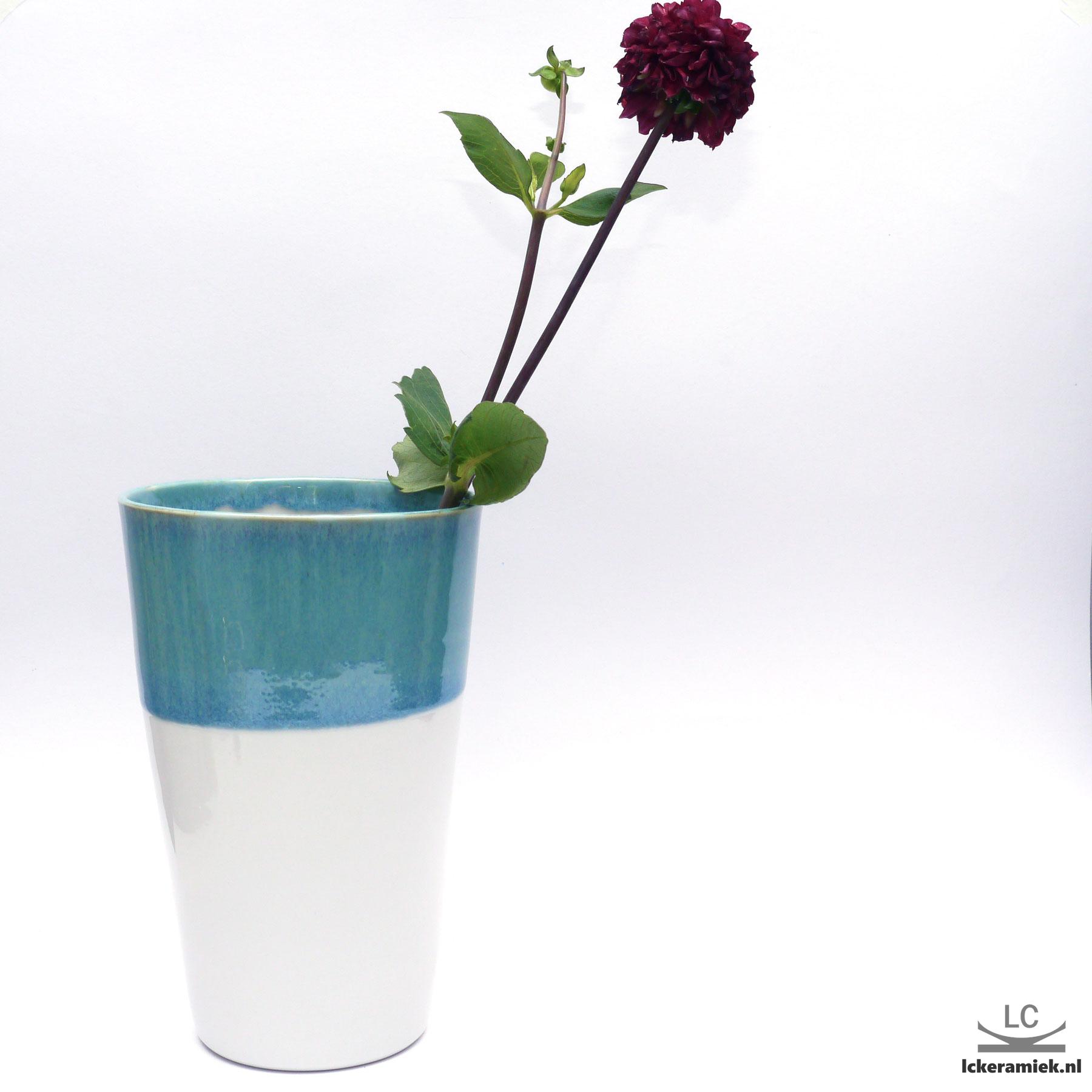 Porseleinen Vaas Turquoise Wit
