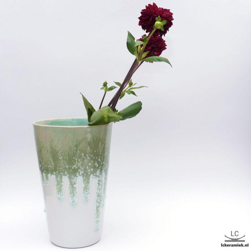 Porseleinen vaas wit groen
