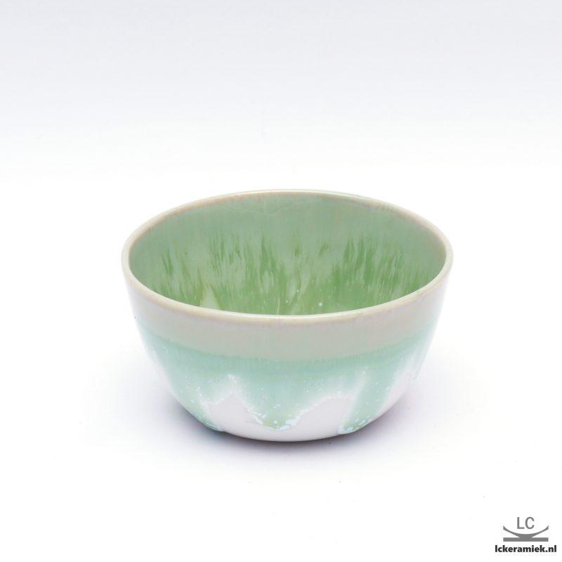 Porseleinen kom groen wit