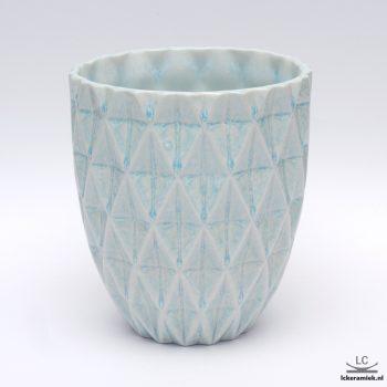 porseleinen vaas diamond blauw