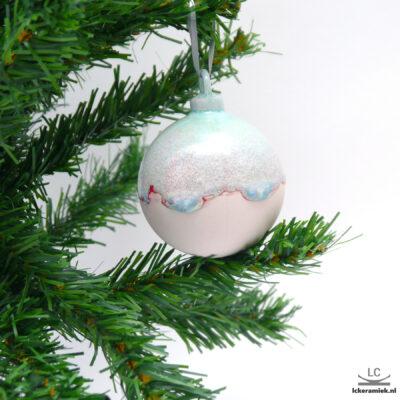 Porseleinen kerstballen rond roze-paars