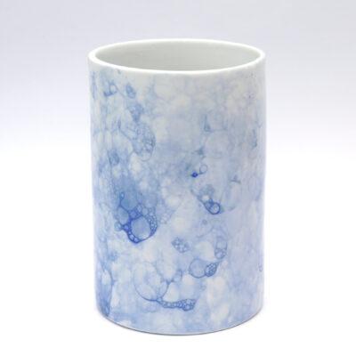 Porseleinen Vaas met blauwe bubbels