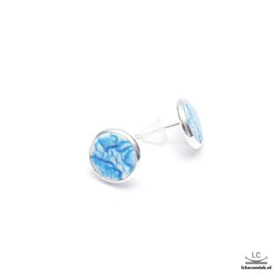 Porseleinen Oorbellen met Blauw Kant